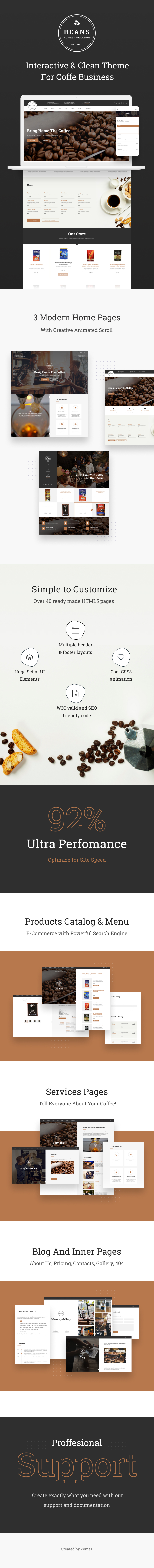 Beans - Simple Coffee Shop Website Template