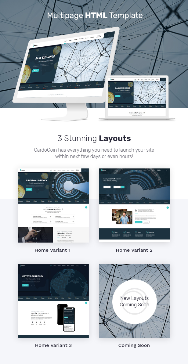 CardoCoin - Cryptocurrency and Bitcoin Multipage HTML5 Template - 1